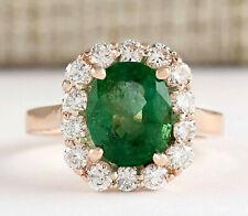 4.18 Carat Natural Emerald 14K Rose Gold Diamond Ring