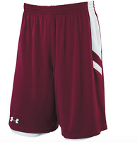 New UNDER ARMOUR Undeniable Reversible Basketball Shorts men maroon White