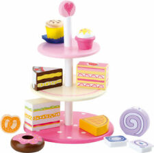 Kids Wooden Cake Stand Dessert Cupcake Donuts Tea Time Pretend Play Food Toy