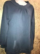LILO Maternity sweater top modest crew neck long sleeve blue soft stretch knit L