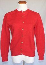 Vintage Wool Cardigan Sweater Large Orange 50s 60s Rockabilly Pin Up T09