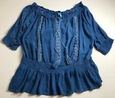 South Main Women's ¾ Sleeve Blouse Top XXL 2XL Plus Faded Blue Boho Summer