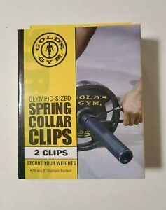 """Golds Gym Olympic Size Spring Collar Clips 2"""" for Barbells New"""