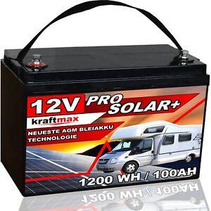 12 Volt kraftmax AGM Bleiakku 12V 100Ah Blei Akku Solar Pro Batterie