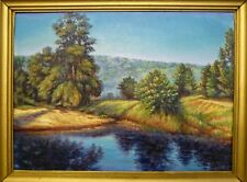 ORIGINAL OIL Painting Hand painted river Landscape Artwork wall ART decor nature