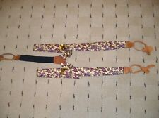 Silk Suspenders/Braces Yellow Red Blue White Paisley Design