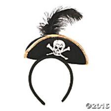 Mini Pirate Hat Headband w/feather Buccaneer Costume Womens Girls Ladies  Black
