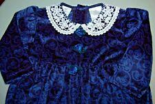 MAYFAIR CO GIRLS 6-9M ROYAL BLUE VELOUR DRESSY ROMPER w HEADBAND VINTAGE STYLE