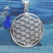 Blume des Lebens Anhänger 925 Silber Flower of Life Harmonie Mod.2 Lederschnur