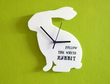 Follow the White Rabbit Alice in Wonderland - Wall Clock