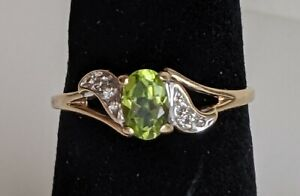 10k Gold Emerald & Diamond Ring 1.8g Size 6.5 Signed Magic Glo