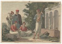 Early 19th Century Hand-colored Copper Plate Engraving - Early Musician