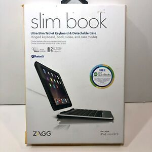 NEW Zagg Slim Book iPad Mini 1/2/3 Bluetooth Keyboard Stand Tablet Case BLACK