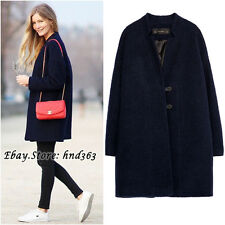 Rare!!! Size M - ZARA NAVY BLUE WOOL COAT ELEGANT OVER SIZE JACKET BLAZER