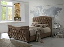 Lachelle Quality Upholstered Sleigh Bed Frame in Brushed Velvet Brown Handmade 5ft King Size