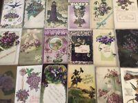 Lot of 25 Pretty *Purple~Violets Flowers~Vintage~Floral Greetings Postcards-b616