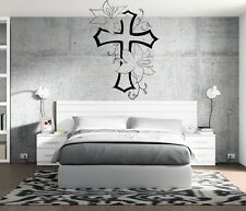 Christian Cross Living Flowers Wall Decal Family Room Home Decor Sticker Mural