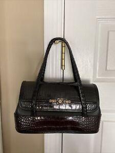 Brighton Small Handbag Brown & Black Croc Leather Silver Accents