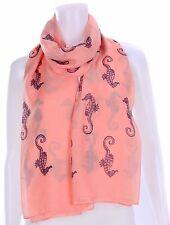 Fashion Viscose Seahorse Print Scarf - Coral