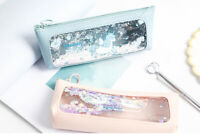 Unicorn See Through PU Leather Floating Stars Pencil Case Cosmetics Make Up Bags