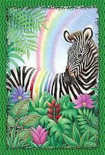 """New Large Toland Flag Rainbow Stripe Zebra - Beautiful Flag! 28"""" x 40"""""""