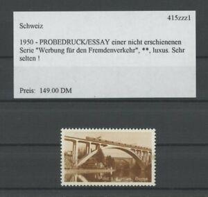 SWITZERLAND SPECIMEN 1950 ESSAY TRIAL TEST PRINT PROOF 4 VOIES BRIDGE (m2149