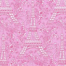 PETITE PARIS Fabric FQ Michael Miller EIFFEL TOWER IN PINK France Le Tour FRENCH