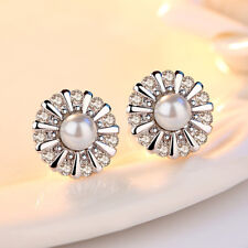 925 Sterling Silver Chrysanthemum Flower Pearl Stud Earrings For Women Jewelry