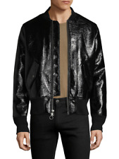 220 new GUY LAROCHE black LACQUERED BOMBER JACKET sz L top coat fashion 43018218291