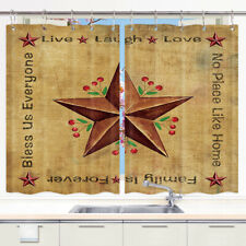 Texas stars and red fruits Kitchen Curtains 2 Panel Set Decor Window Drapes