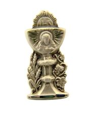 Sterling Silver Sacred Heart Chalice with Wheat and Grapes Lapel or Tie Pin, 3/4