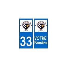 33 bordeaux UBB rugby autocollant plaque arrondis