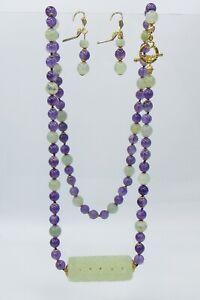 Carved Bowenite  Pendant & Amethyst Beaded Necklace Pierced Hook Earring Set