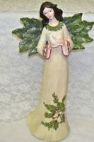 Christmas Angel Figurine with Holly Berry Accents 12 inches high