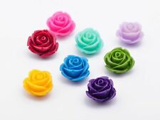 COLOURFUL FLAT BACK RESIN ROSE FLOWER BEADS 10/12/15MM JEWELLERY MAKING CRAFTS