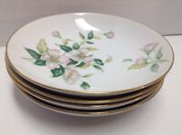 Sango Apple Blossom Soup or Cereal Bowl Lot of 4 Gold Trim