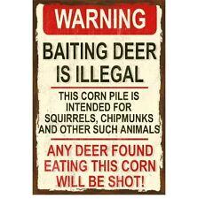 Hunting & Gun Sign - Baiting Deer is Illegal - Garage - Metal or Plastic