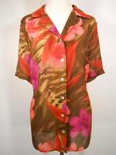 Beautiful Women's 0X Maggie Barnes Floral Design Short Sleeve Fitted Blouse GUC