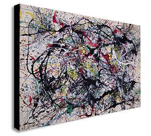 Jackson Pollock Number 34 - Canvas Wall Art Framed Print - Various Sizes