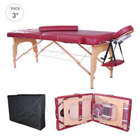 "3"" Thick 91"" Foldable Reiki Massage Table Salon Bed Spa w/ Carry Bag Rose"