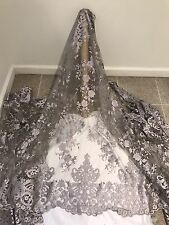 """GRAY MESH EMBROIDERY BRIDAL LACE FABRIC 50"""" WIDE 1 YARD"""