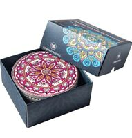 Ceramic Bar Stone Coasters for Drinks, Mandala & Bohemia Style, 6 Pack Gift Set