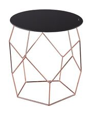 Origami Side/End Table,Copper Base/Black Glass-ST37CP