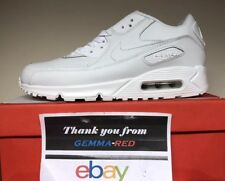 Nike Air Max 90  ALL Leather White White Mens Trainers 302519-113 Size 8.5 UK*
