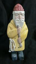 "Midwest Importer Cannon Falls Santa Yellow Raincoat Figure Carving 9 1/4"" Fishin"