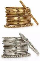Combo Indian Fashion Bollywood Gold Silver Oxidized Metal Party Bracelet Bangles