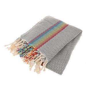 Rainbow Multicolor&Dark Gray Turkish Peshtemal Cotton Towel Beach Towel