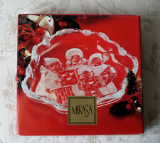"""MIKASA CAROLERS 8 1/4"""" SWEET DISH CHRISTMAS SERVING CLEAR GLASS FROSTED IMPRINT"""