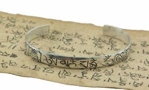 Bracelet tibétain Mantra Om Mani Padme Hum-metal blanc gravé-Tibet 4762