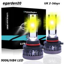 Pair mini 9006 HB4 LED Headlight Bulbs Low Beam Light 3000K 100W Yellow HID Lamp